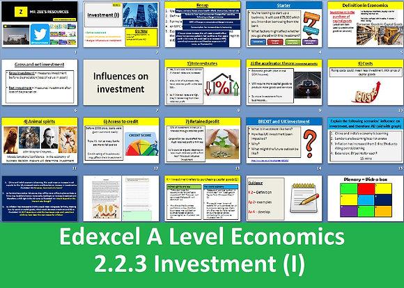2.2.3 Investment (I) - Theme 2 Edexcel A Level Economics