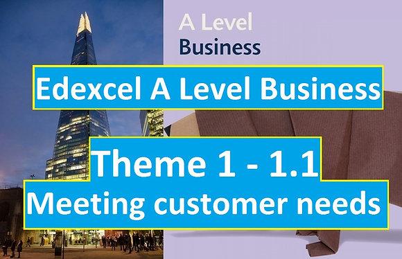 Edexcel A Level Business Theme 1 - 1.1 Meeting customer needs