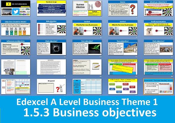 1.5.3 Business objectives - Theme 1 Edexcel A Level Business