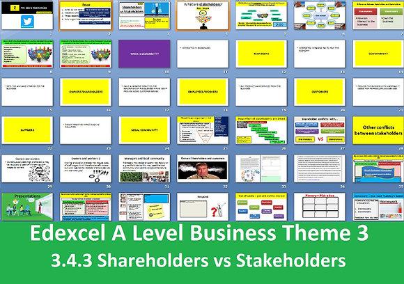 Edexcel A Level Business Theme 3 - 3.4.3 Shareholders vs stakeholders