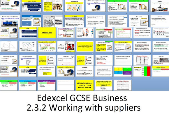 Edexcel GCSE Business - Theme 2 - 2.3.2 Working with suppliers