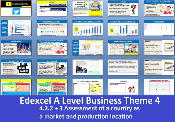 Edexcel A Level Business Theme 4 - 4.2.2 and 4.2.3 Assessment of a country