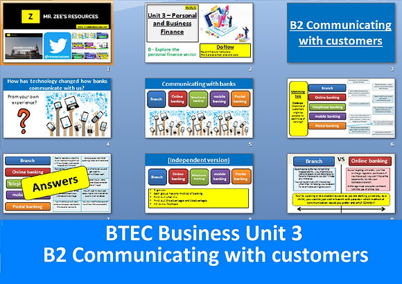 Communicating with customers - BTEC Business Unit 3 Personal & business finance