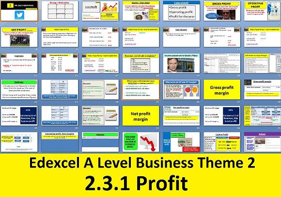 2.3.1 Profit - Theme 2 Edexcel A Level Business