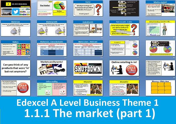 1.1.1 The market (part 1) - Theme 1 Edexcel A Level Business