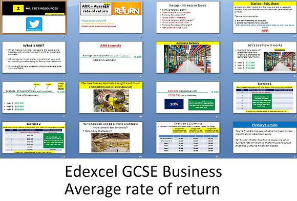Edexcel GCSE Business - Average rate of return