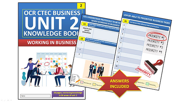 OCR CTEC Business Unit 2 Working in Business Interactive Knowledge Book