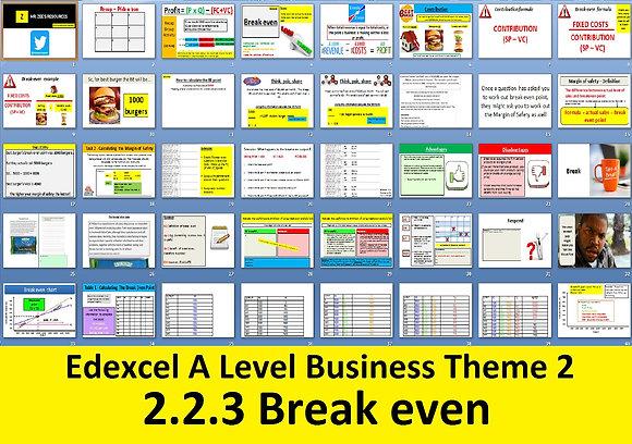2.2.3 Break even - Theme 2 Edexcel A Level Business