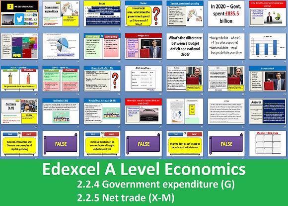 2.2.4 Government expenditure (G) & 2.2.5 Net trade (X-M) - A Level Economics