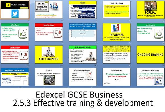 Edexcel GCSE Business - Theme 2 - 2.5.3 Effective training and development