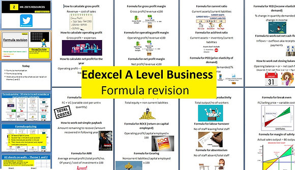 Edexcel A Level Business - Formula revision
