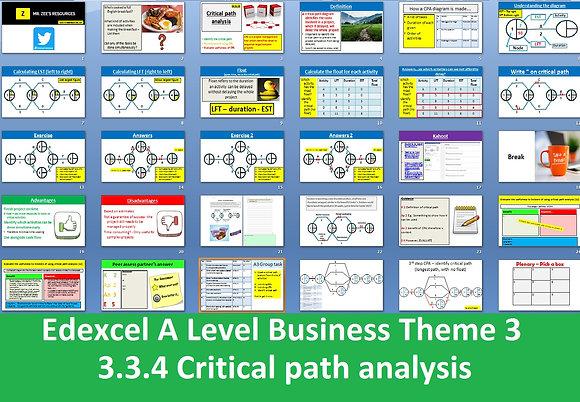 Edexcel A Level Business Theme 3 - 3.3.4 Critical path analysis