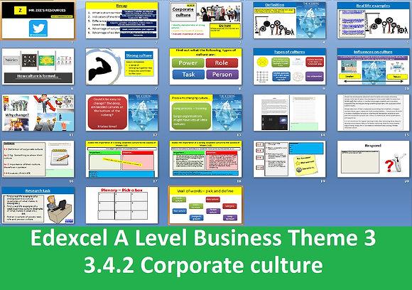 Edexcel A Level Business Theme 3 - 3.4.2 Corporate culture