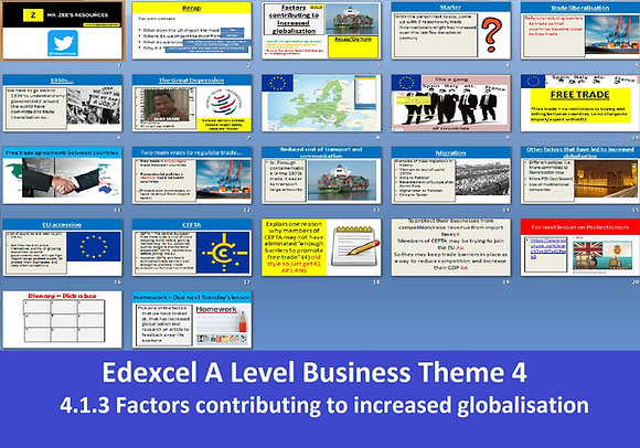 Edexcel A Level Business Theme 4 - 4.1.3 Factors contributing to increased globa