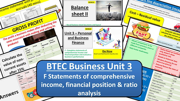 BTEC Business Unit 3 Personal and business finance - Learning aim F