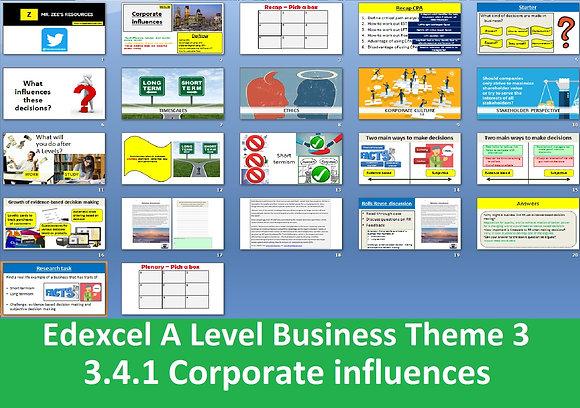 Edexcel A Level Business Theme 3 - 3.4.1 Corporate influences