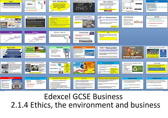 Edexcel GCSE Business - Theme 2 - 2.1.4 Ethics, the environment and business