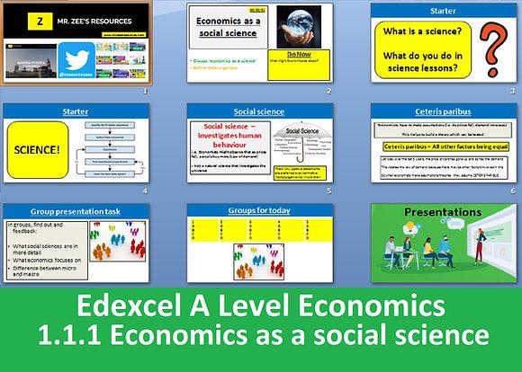 1.1.1 Economics as a social science - Theme 1 Edexcel A Level Economics