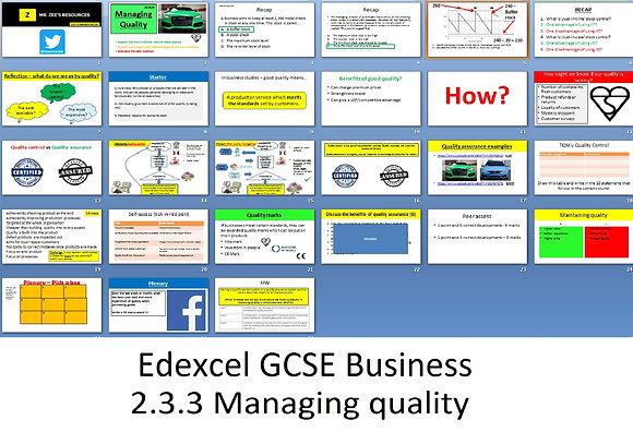 Edexcel GCSE Business - Theme 2 - 2.3.3 Managing quality