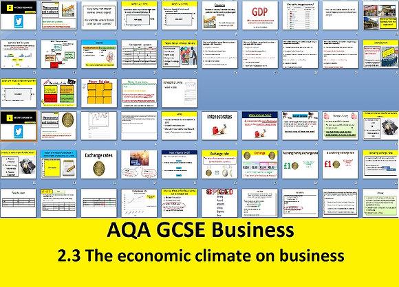 AQA GCSE Business 9-1 - 2.3 The economic climate on business