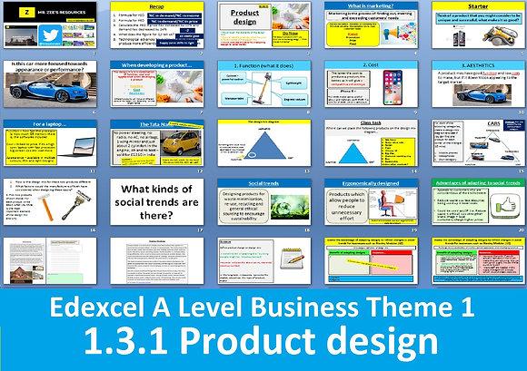 1.3.1 Product design - Theme 1 Edexcel A Level Business