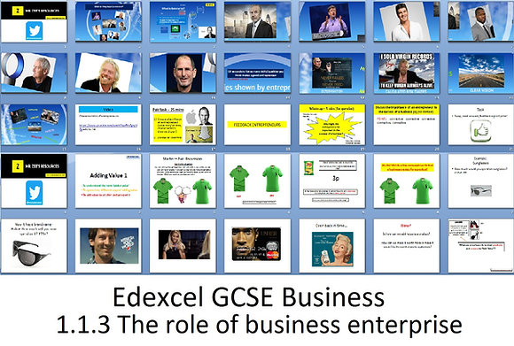Edexcel GCSE Business - Theme 1 -1.1.3 The role of business enterprise