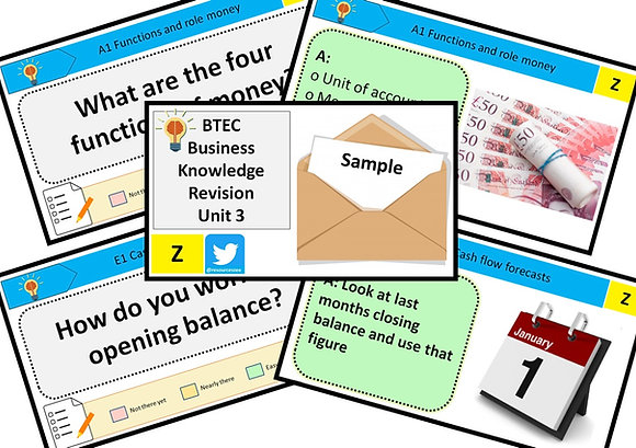 BTEC Business Unit 3 Personal and business finance - knowledge revision sample