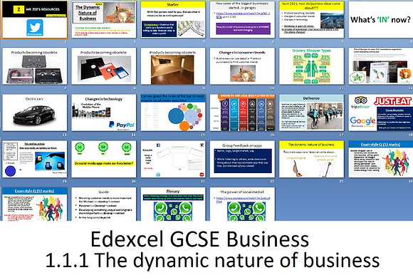 Edexcel GCSE Business - Theme 1 - 1.1.1 The dynamic nature of business