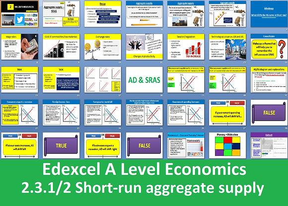2.3.1 + 2 Short-run aggregate supply (SRAS) - Theme 2 Edexcel A Level Economics