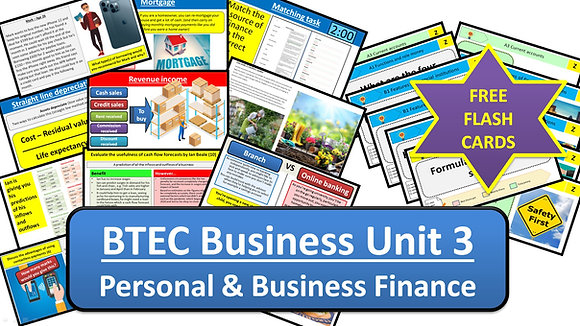 BTEC Business Unit 3 Personal and Business Finance (Complete bundle)