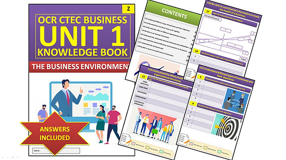CTEC Business - Unit 1 The Business Environment Interactive Knowledge Book