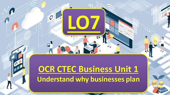 OCR CTEC Business Unit 1 The business environment - Learning outcome 7