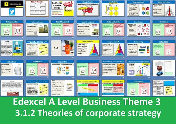Edexcel A Level Business Theme 3 - 3.1.2 Theories of corporate strategy