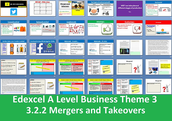 Edexcel A Level Business Theme 3 - 3.2.2 Mergers and takeovers