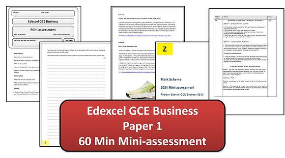 Edexcel GCE Business - 60 Min Mini-assessment (Paper 1)
