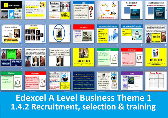 1.4.2 Recruitment, selection and training - Theme 1 Edexcel A Level Business