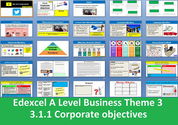 Edexcel A Level Business Theme 3 - 3.1.1 Corporate objectives