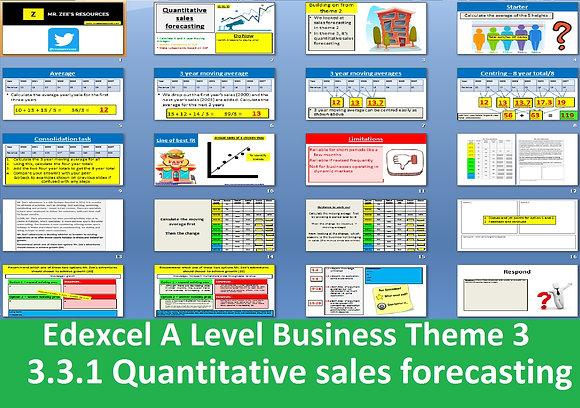 Edexcel A Level Business Theme 3 - 3.3.1 Quantitative sales forecasting
