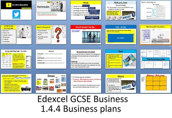 Edexcel GCSE Business - Theme 1 - 1.4.4 Business plans