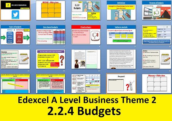 2.2.4 Budgets - Theme 2 Edexcel A Level Business