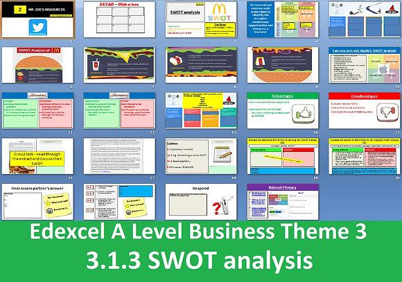 Edexcel A Level Business Theme 3 - 3.1.3 SWOT analysis