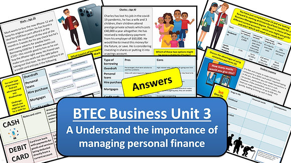 BTEC Business Unit 3 Personal and business finance - Learning aim A