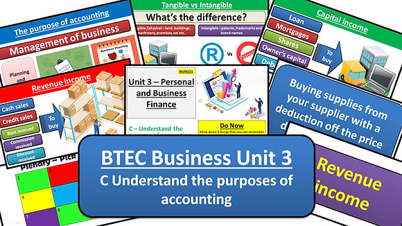 BTEC Business Unit 3 Personal and business finance - Learning aim C