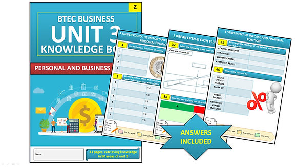 BTEC Business Unit 3 Personal and Business Finance Interactive Knowledge Book