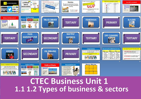 1.1 1.2 Different types of business & Sectors of operation - OCR CTEC Business
