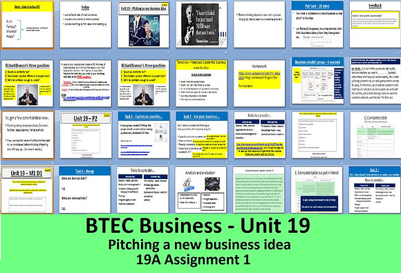 BTEC Business - Unit 19 Pitching a new business idea (19a Assignment 1)