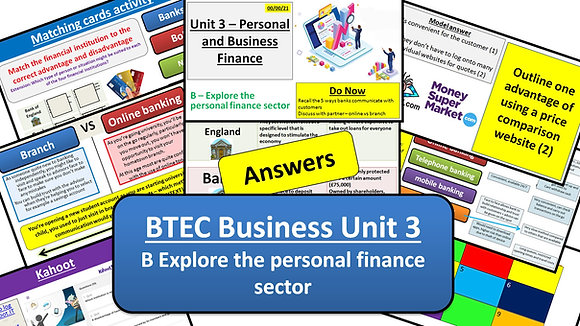 BTEC Business Unit 3 Personal and business finance - Learning aim B