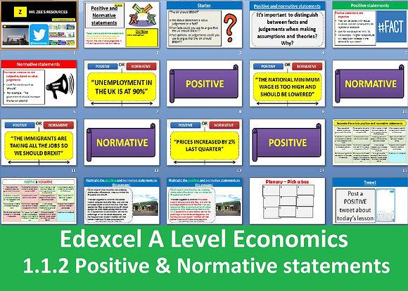 1.1.2 Positive and normative statements - Theme 1 Edexcel A Level Economics