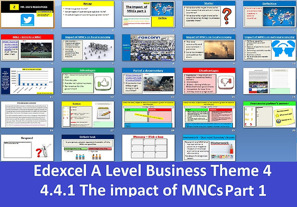A Level Business - The impact of multinationals (MNCs)