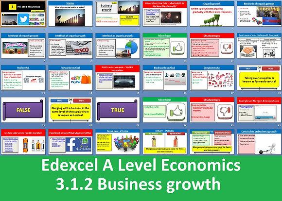 3.1.2 Business growth - Theme 3 Edexcel A Level Economics